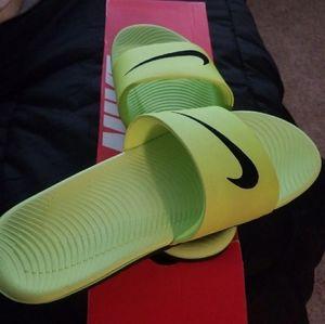 Lime Green Nike Kawa slides